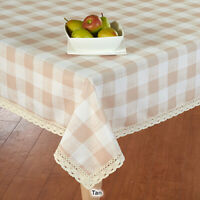 Rectangle TABLECLOTH lace check Tan & White checkered buffalo lace edge Country