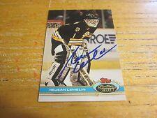 Rejean Lemelin Autographed Signed 1991-92 Stadium Club #23 Card NHL Bruins