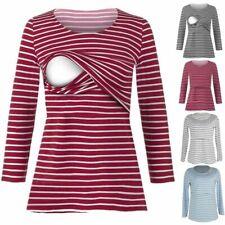 UK Women Striped Loose Nursing Blouse Breastfeeding Shirt Pregnant Top Maternity