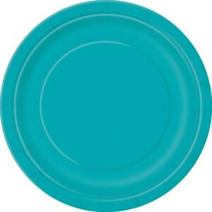 Teal Blue 22cm Paper Party Dinner Plates Celebration BBQ 1-48pk