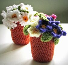 CROCHET PATTERN (instruction leaflet) to make DAISY / PRIMULA FLOWERPOT  Ref.P27