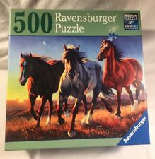 Ravensburger 500 pc Blue Roan Ridge Galloping Horses puzzle COMPLETE 80 378