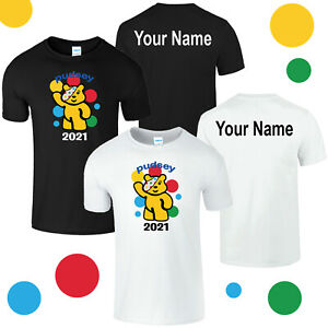 Spotty Pudsey Bear Kids Personalised T Shirt Children In Need Dotty Spot Charity