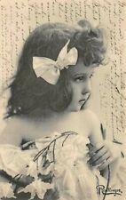 Child with hairbow, flowers off-shoulder dress Antique Reutlinger Postcard