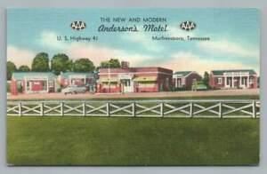 Anderson's Motel & Gas Station MURFREESBORO Tennessee~Vintage Linen 41 Roadside