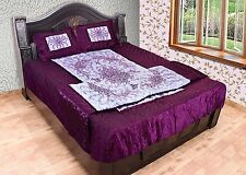 Beautiful Mehroon 4 PCs Floral Embrodried Silk Bedcover Pillow Quilt Bedding Set