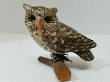 Vintage, Hand Carved and Hand Painted Owl on Branch life like with Yellow Eyes.