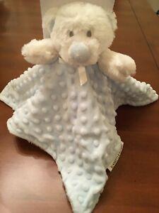 Blankets Beyond Blue White Bear Minky Dots Reverse White Plush NEW