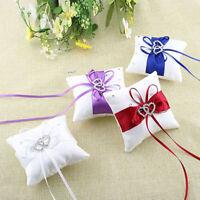 Romantic Wedding Ring Box Pillow Double Heart Ribbon Cushion Holder Decor Hot