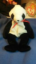 """Rare Retired ty Beanie Baby """"Fortune"""" Panda Bear with tag errors"""