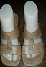 Women's CLARKS Tan Leather Strappy Sandals Shoes Size 6.5M Style 30523