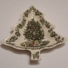 Merry Christmas Tree Nut Candy Dish Made in England by Johnson Brothers