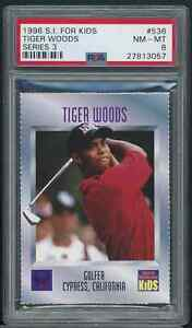 1996 Sports Illustrated for Kids Series 3 Tiger Woods ROOKIE RC #536 PSA 8 NM-MT