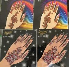12 Card HAND Henna Tattoo Adhesive Stickers Bindi Body Crystal Glitter Jewel lot