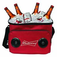 Budweiser Cooler Bag with Bluetooth Speaker & Up to 24 Cans Capacity, Red