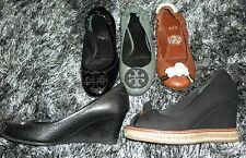 Tory Burch Lot of 5 Reva/Sterling Flats Sally/Jackie Wedges Black Brown Gray
