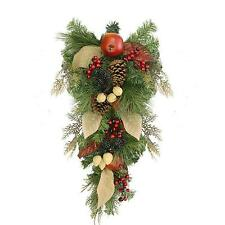"""24"""" Autumn Harvest Mixed Pine, Berry and Nut Thanksgiving Fall Teardrop Swag - U"""