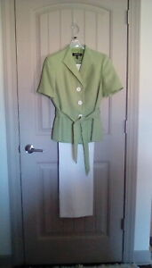 PRE-OWNED WOMEN KASPER SUIT SIZE 6 GREEN/WHITE JACKET
