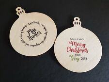 WOODEN BAUBLE TAG Personalised - Custom - Gift - Teacher - Christmas - Xmas