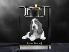 Basset Hound, crystal candlestick with dog, souvenir, Crystal Animals Usa