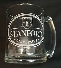 Vintage Stanford University Clear Glass Etched Beer Stein Mug - Rare