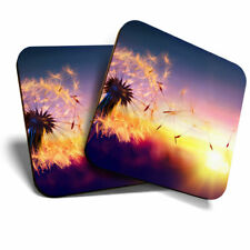 2 x Coasters - Beautiful Dandelion Sunset Home Gift #3773