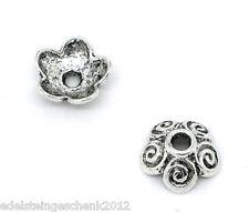 100 Antik Silber Blumen Perlen Beads Ende Kappen 10x4mm