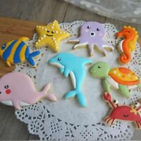 8pc/set Whale Dolphin Octopus Turtle Fondant Tools Biscuit Moulds Cookie Cutter