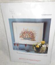 "Vintage Pre-1982 Permin Of Copenhagen ""Flower Basket"" Counted Cross Stitch Kit"