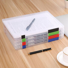 A4 File Storage Box Clear Plastic Document Cases Desk Paper Organizers