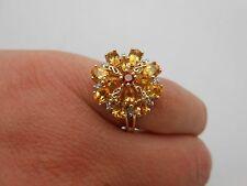 Large DESIGNER 14k Gold Natural Citrine Garnet & Diamond Cocktail Ring Size 8.5