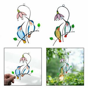 Stained Glass Hummingbird Suncatcher Birds Window Hanging Metal Craft Art Decor