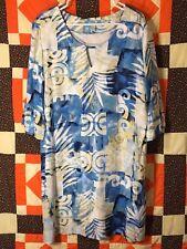 Kai Clothing HAWAII Palm Beach Blue Tunic Dress 3/4 Sleeve Women's XL 100% Rayon