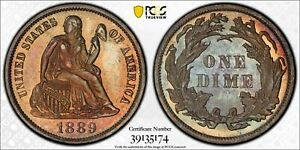 PRETTY TONED PCGS PR64 1889 SEATED LIBERTY SILVER PROOF DIME 10c  (BC74)