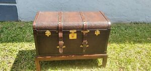 Maitland Smith Leather Strapped Woven Wood Standing Trunk