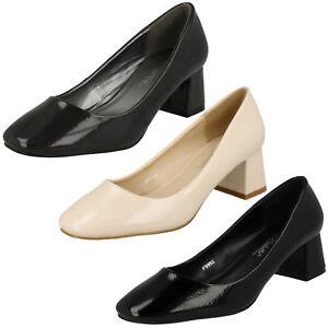 SALE Ladies Anne Michelle Block Heel Crinkle Patent Court Shoes - F9992