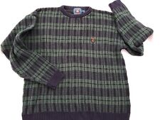 Chaps Ralph Lauren Vintage Cotton Sweater Crewneck Mens M Plaid Crest