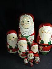 "Vintage Lg 10"" Nesting Santa Wooden Hand Painted Set of 9 Christmas Detail B1553"