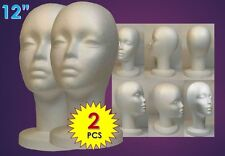 "WIG FEMALE STYROFOAM HEAD FOAM MANNEQUIN DISPLAY 12"" (2PCS)"