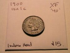 1900 Indian Head XF Extra Fine Original Bronze Small Cent 1 Penny US Coin