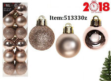 Set Of 24 3cm Baubles In PVC Box Rose Gold Colours Decor Christmas Tree Gift UK