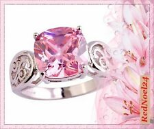 Conjured Eloquent Swirled Band Pink Topaz 925 Silver Hallmarked Ring- Size 8 - P