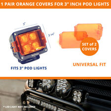 "1 Pair of ORANGE Lens Covers for 3"" LED Pod Lights - Universal Fit"