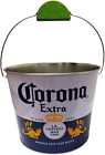 The Tin Box Company Corona Beverage Bucket with Wire Handle and Lime Grip, White