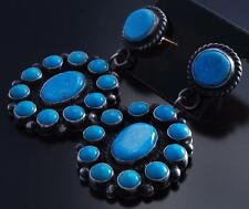 Silver Kingman Turquoise Navajo Concho Earrings by Anthony Skeets 7F18D