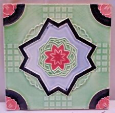 VINTAGE PORCELAIN TILE FLOWER GEOMETRIC DESIGN JAPAN ART NOUVEAU MAJOLICA # 218