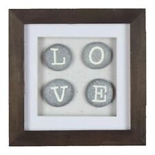 Natural Arts Square Boxed Frame Wall Plaque LOVE Stones New View Gifts