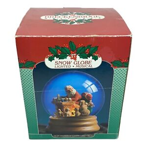 Breckenridge Holidays Santas Gift List Puppies Dog Musical Lighted Snow Globe