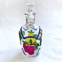 Vintage Hand Painted Fruit Glass Bottle Decanter with Stopper