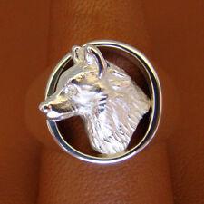 Solid Sterling Silver Men's Siberian Husky Head Study Ring